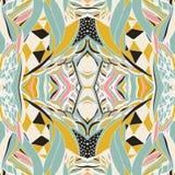 De traditionele sierbandana van Paisley Hand getrokken kleurrijk Azteeks patroon met artistiek patroon stock illustratie