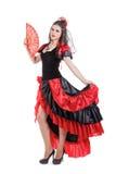 De traditionele Spaanse danser van de Flamencovrouw in een rood Royalty-vrije Stock Foto