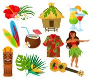 De traditionele symbolen van Hawaiiaanse cultuurreeks, hibiscus bloeien, bungalow, surfplank, tiki stammenmasker, exotische ukele vector illustratie