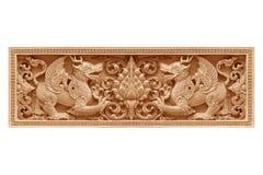 De traditionele Thaise leeuw van het stijlpatroon of het singhahout snijdt Royalty-vrije Stock Foto's