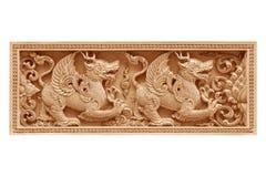 De traditionele Thaise leeuw van het stijlpatroon of het singhahout snijdt Royalty-vrije Stock Afbeeldingen