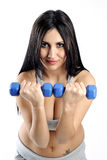 De training van het de vrouwengewicht van de domoor in gymnastiek Stock Fotografie