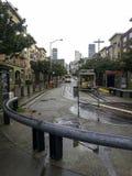 de tram in de regenachtige dag van San Francisco stock fotografie