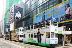 De tram van de dubbeldekker in Hong Kong. royalty-vrije stock afbeelding