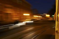 De tram van de nacht Stock Fotografie