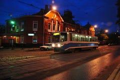 De tram van Moskou van de nacht Stock Foto's