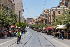 De tramlijn van de Jaffastraat, Jeruzalem Stock Afbeeldingen