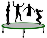 De trampoline van de vrouw Stock Afbeeldingen