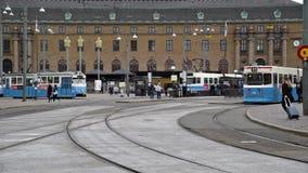 De Trams van Gothenburg Zweden stock videobeelden