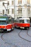 De Trams van Praag Stock Foto