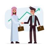 De transactiehanddruk met Arabische en Europese etnisch bemant Stock Foto
