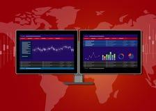De transactieterminal van monitorvoorraden Stock Afbeeldingen