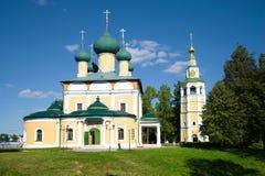De Transfiguratiekathedraal op een zonnige Augustus-dag Uglich, de Gouden Ring van Rusland stock fotografie
