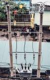 De Transformator van de kabelvermindering stock afbeeldingen