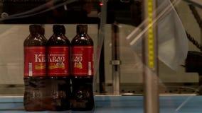 De de transportbandfles van de voedselindustrie brouwt bier stock videobeelden