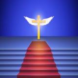 De trap met rood tapijt leidt tot kruis. Royalty-vrije Stock Fotografie