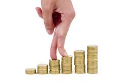 De trap van de hand en van het geld Stock Afbeeldingen