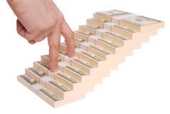 De trap van de hand en van het geld (het Knippen weg) Royalty-vrije Stock Fotografie