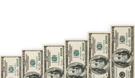 De trap van het geld die op wit wordt geïsoleerda Stock Foto