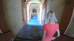 De trap van San Luca Sanctuary stock videobeelden