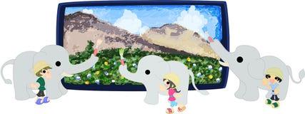 De tre elefanterna och en stor landskapbild. Arkivfoto