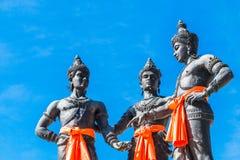 De tre konungarna monument, Thailand Arkivfoto