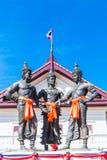 De tre konungarna monument, Thailand Arkivbild