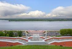 De trede van Chkalov in Nizhny Novgorod Rusland stock fotografie