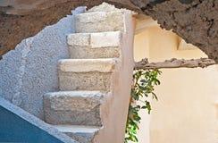 De treden in Emporio, Santorini, Griekenland Royalty-vrije Stock Foto's