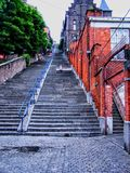 De treden Montagne DE Bueren telt 374 stappen, Liège, België Royalty-vrije Stock Foto's