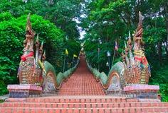 De treden van Nagas van Wat Doi Suthep Stock Afbeeldingen