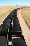 De trein en de elektrische centrale van de steenkool Royalty-vrije Stock Foto
