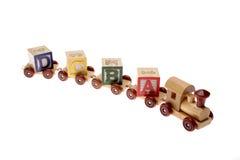 De trein en het leren van het stuk speelgoed blokken Royalty-vrije Stock Afbeeldingen