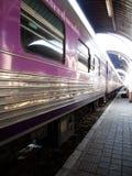 De trein komt aan railstation Stock Fotografie
