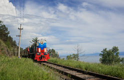 De trein op circum-Baikal stock fotografie