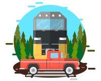 De trein raakte de auto Stock Foto's