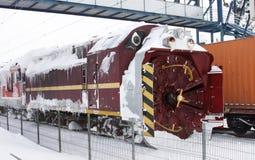 De trein van de sneeuwverwijdering Royalty-vrije Stock Foto's