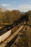 De trein van de steenkool door de bergen Stock Afbeelding