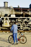 De trein van de stoom in Swakopmund, Namibië Stock Afbeeldingen