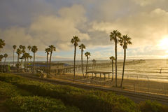 De Trein van de zonsondergang bij de Pijler van San Clemente Stock Foto's
