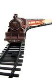 De trein van het stuk speelgoed die op wit wordt geïsoleerd Stock Fotografie