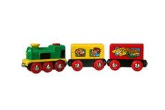 De trein van het stuk speelgoed met wagen 1 Stock Afbeeldingen