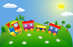 De trein van het stuk speelgoed op de berg stock foto