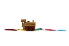 De trein van het stuk speelgoed op een witte achtergrond Stock Foto