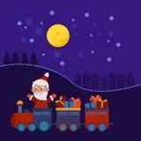 De trein van Kerstmis met giften Royalty-vrije Stock Afbeelding