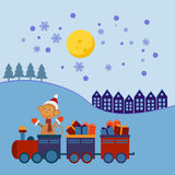 De trein van Kerstmis met giften Stock Foto