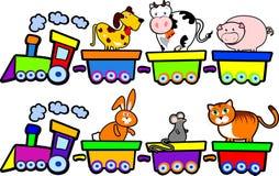 De trein van landbouwbedrijfdieren Stock Foto