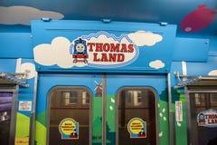 De trein van Thomas in Kawaguchiko, Japan Stock Foto's