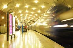 De trein vertrekt van de post. Stock Afbeelding