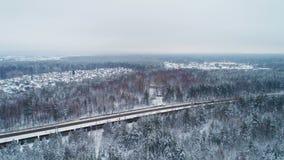 De trein vervoerden geladen vervoer tegen de winterlandschap stock video